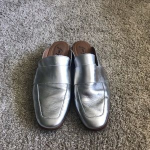 Silver Free People Mules